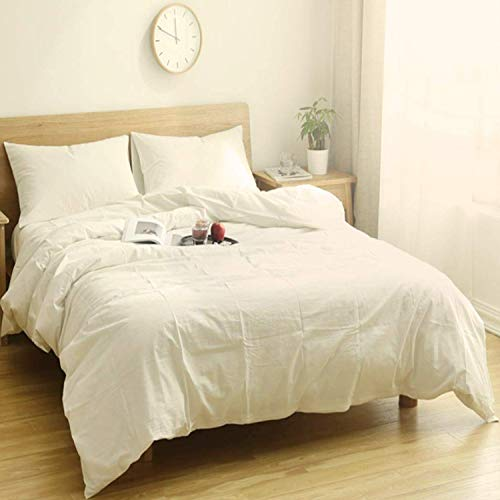 Utridevn 3 Pieces Washed Cotton Duvet Cover Set,100% Natural Cotton Bedding,Vintage Style with Zipper Closure,Soft and Comfy(Queen,White Undyed) (Vintage Sets Style Bedding)