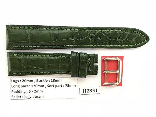 20mm/18mm GREEN Genuine Crocodile Leather Skin Watch Strap Band Men HANDMADE H2831 (Green Crocodile Leather Watch)