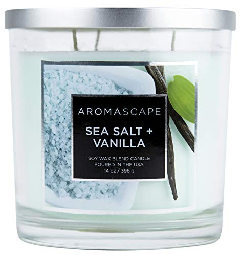 Aromascape 3-Wick Scented Jar Candle, Sea Salt & Vanilla (Best Vanilla Scented Candles)
