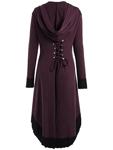 Breasted Red High Wine Women's CharMma Lace Hem Size Up Double Low Plus Coat Hooded 04fOqI