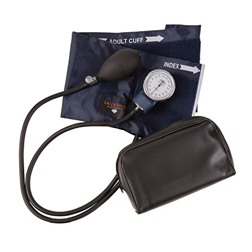 Aneroid Precision Sphygmomanometer Series (MABIS Precision Series Aneroid Sphygmomanometer Manual Blood Pressure Monitor with Calibrated Blue Nylon Cuff and Carrying Case, Adult)