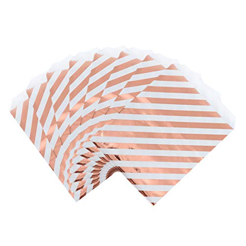 STOBOK 24pcs Baked Paper Bag Food Candy Stripe Treat Bag Biscuits Cookie Snack Dessert Container for Gift Wedding Birthday Banquet Party