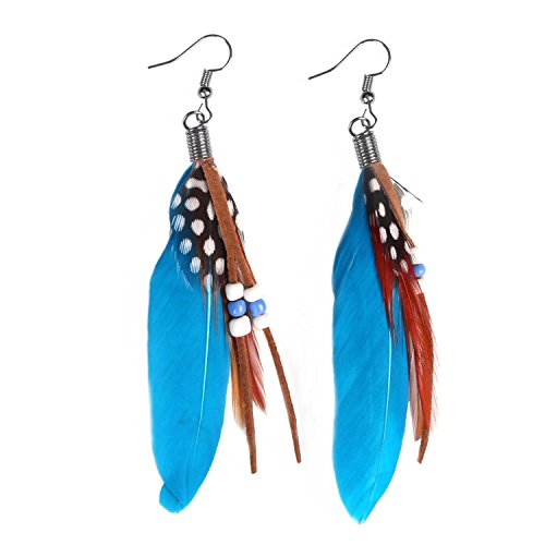 Nature Feather Earring Cute Handmade Goose Feather Super Light Boho Dangle Earrings for Women Girls Valentine's day Mother's day Gift ()