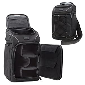 Professional Camera Bag / Backpack by USA Gear with Rain Cover Accesory Storage and Customizable Dividers - Works w/ Canon , Nikon , Sony and Many Other DSLR , Mirrorless , Action and Instant Cameras