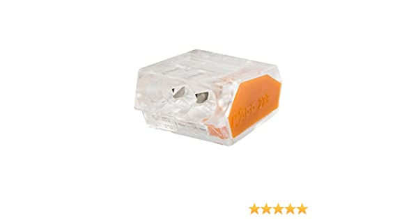 Wago WAG221344 transparente//naranja Pack de 15 Terminal de conexi/ón universal para todos los conductores tipo 221//3 entradas