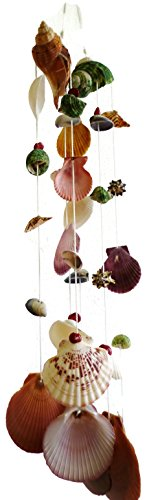 "Moose546 Set of Two Multi Natural Seashells Hanging Ornaments Outdoor Indoor Mobile Wind Chime, 3"" Diameter and 20"" Long S-002"