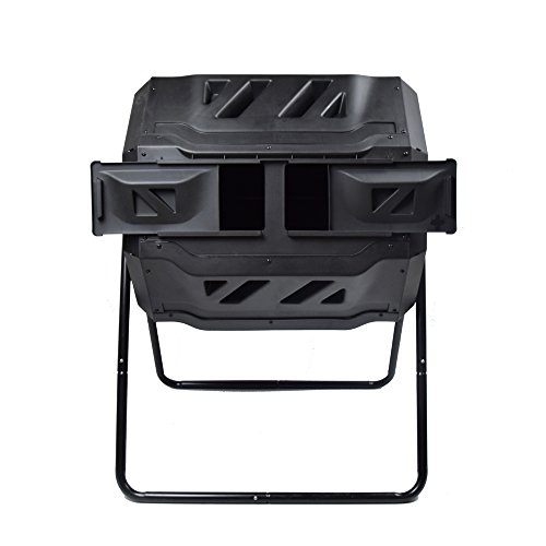 Coffee Set Take Along - EJWOX Garden Compost Bin Tumbler, 43 Gallon Capacity with 2 Chambers Dual Rotating Composting Tumbler