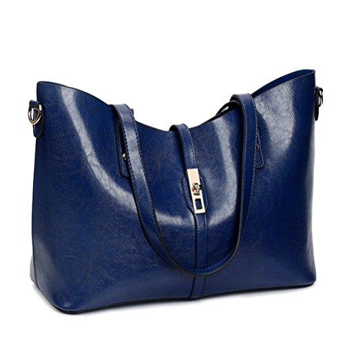 1 Minofious Femmes PU Sac Mode en Épaule Main Cuir Bleu 4 à qqr4gwHZx