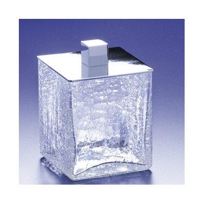 - Square Crackled Glass Cotton Swab Jar Finish: Satin Nickel