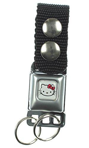 Hello Kitty Face White Seatbelt Keychain (Hello Kitty Key Ring)
