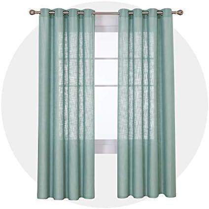 Deconovo Tende Finestre Soggiorno Moderne Semitrasparenti con Occhielli Tende Decorative Elegante Tinta Unita per la Casa 140x290cm Verde