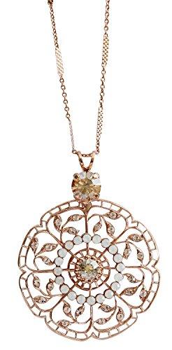 Mariana Rose Goldtone Filigree Flower Floral Crystal Pendant Necklace, 29