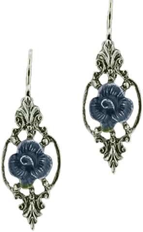 Avonlea Blue Enamel Flower Leverback Earrings