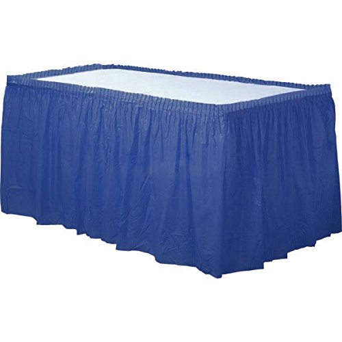 Disposable Table Skirts (Pack of: 3 Royal Plastic Table Cloth, Plastic Party Table Cover, Reusable Plastic Table Cloth, Disposable table cover (BLUE)
