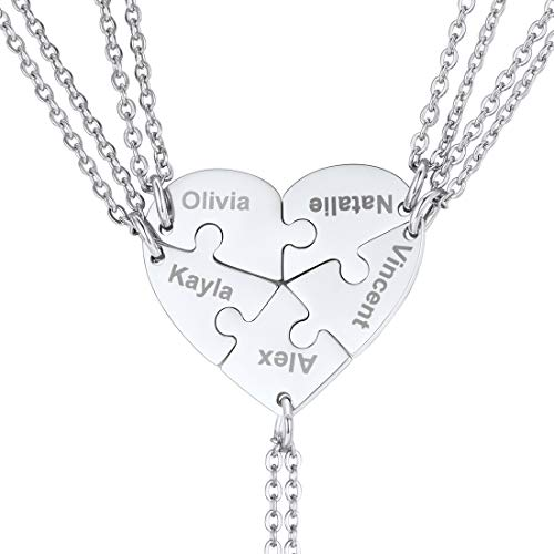 U7 BFF Necklace for 2/3/4/5/6 Stainless Steel Chain Personalized Family Love/Friendship Jewelry Set Free Engraving Heart Pendants (Set of 5 Stainless Customized) (Boy Girl Best Friend Jewelry)