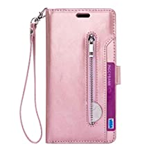 Samsung Galaxy Note 9 Case Cover,Miya PU Leather Wallet Case with ID Cash Credit Card Holder Folio Flip Protective Shell Zipper Pocket Case for Women Men for for Samsung Galaxy Note 9 - Rose Gold