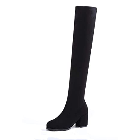 d4acbd566a52f Amazon.com: ODOKAY Women Warm Plush Thigh High Boots Winter Over The ...