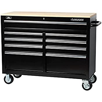 Husky  Drawer Mobile Workbench With Solid Wood Top Black