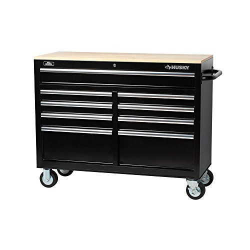 Husky 46 in. 9-Drawer Mobile Workbench with Solid Wood Top, Black