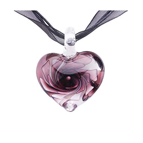 VEINTI+1 Exotic Style Eye-catcher Handmade Romantic Heart with Pink Flower Design Glass Necklace (Purple)