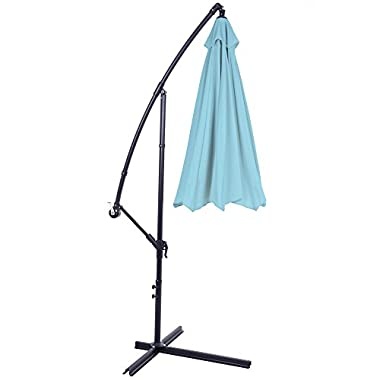 Pure Garden Offset Aluminum Hanging Patio Umbrella, 10', Blue