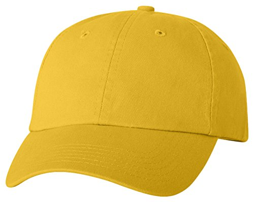 Ladies Washed Twill Cap - Adult Bio-Washed Unstructured Cap, Color: Yellow, Size: One Size