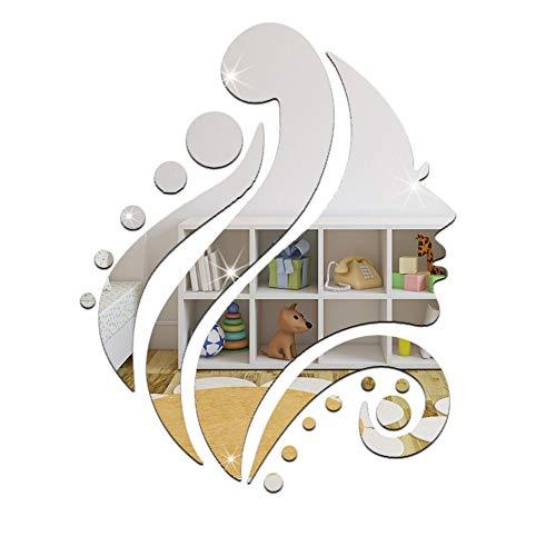 NYKKOLA Wall Sticker, Modern Stylish Fashion Art Design Removable DIY Acrylic 3D Mirror Wall Decal Wall Sticker for Bedroom Sitting Room Home Decoration - Beauty Beautiful Girl Head