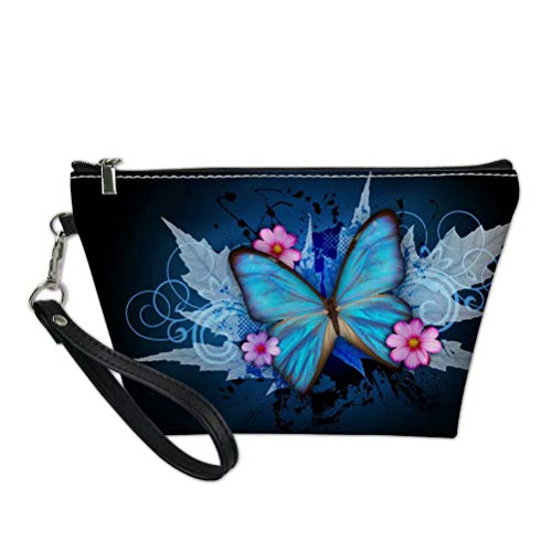 Spring Coin Set - SANNOVO Blue 3D Butterfly Designed Zipper Cosmetic Makeup Bag for Women