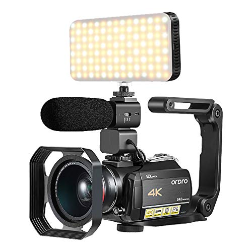 DV Camcorder 4K, with 12X Optical Zoom, Connecting with Smart LED Filling Light, Microphone, Wide Angle Lens, Lens Hood and Foldable Handheld Stabilizer(32GB SD Card as a Gift) by Emperor of Gadgets (Smart Camcorder)