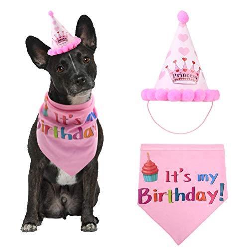 Qivange Dog Birthday Bandana Dog Birthday Girl Scarfs Party Hat Dog Birthday Party -