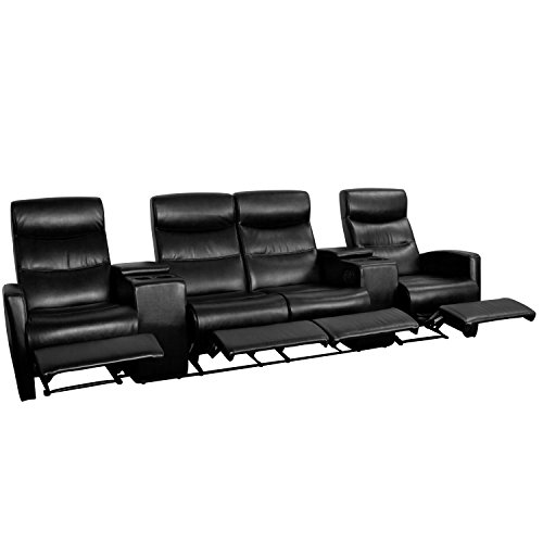 (Flash Furniture Anetos Series 4-Seat Reclining Black Leather Theater Seating Unit with Cup Holders)