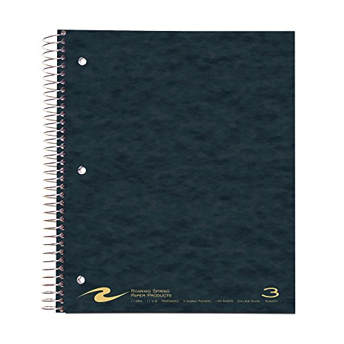 Roaring Spring Wirebook Notebook, Three Subject with 3 Double Pockets, 11