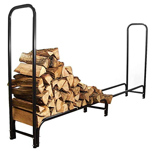 Find Bargain Sunnydaze 8-Foot Firewood Log Rack - Outdoor Black Powder-Coated Steel Fireplace Wood S...