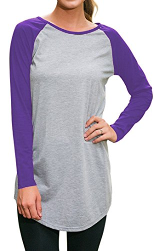 Halife Women's Round Neck Raglan Sleeve Long T-shirt Tunics Tops (XXL, Purple)