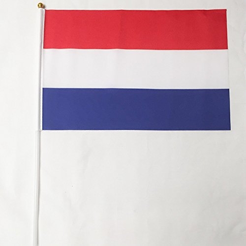 Netherlands Polyester Country Flags Desk Outside Waving Parade 12-pack Hand or 12 inch x 18 inch Grommet (12-Pack Hand Flag)