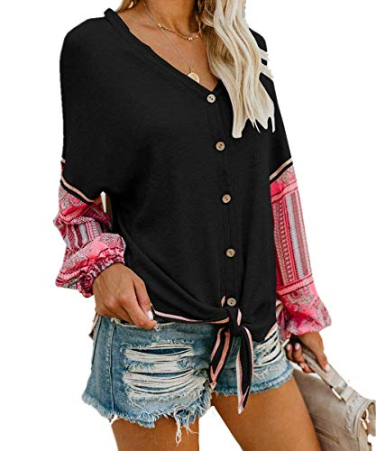 Unidear Womens Tie Front Henley V Neck Button Down Knit Tunic Blouse Boho Print Long Sleeve Thermal Shirt Tops #2Black S -