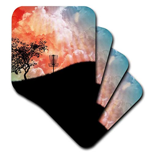 3dRose Basket on A Hill - Silhouette of a Frisbee Disc Golf Basket with Chains - Soft Coasters, Set of 4 (CST_173454_1)
