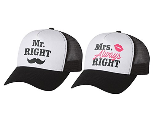 Hats Anniversary Wedding Trucker - Mr & Mrs Gift for Couples, Anniversary, Married Couples Matching Set Mesh Caps Mr Black/White One Size/Mrs Black/White One Size