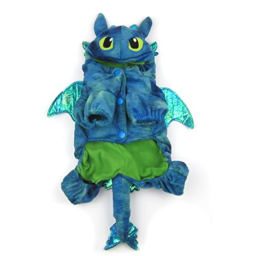 Alfie Pet - Night Fury Dragon Costume - Color: Blue, Size: Small