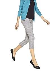 No Nonsense Women\'s Cotton Capri Legging (Large 12-14, White/black spotted)