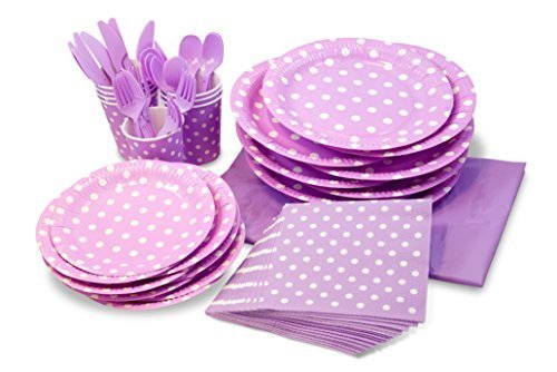 LolliZ® Party Pack For 8, Lavender/Polka Dots Design