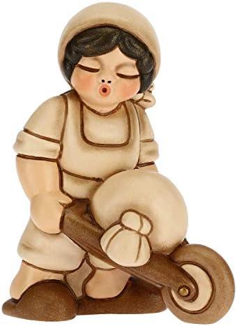 THUN – Statuina Presepe Uomo con Carriola – Decorazioni Natale Casa – Linea Presepe Classico, Variante Beige – Ceramica – 6 x 4 x 8 h cm