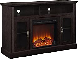 Ameriwood Home 1764412COM Chicago TV Stand with Fireplace