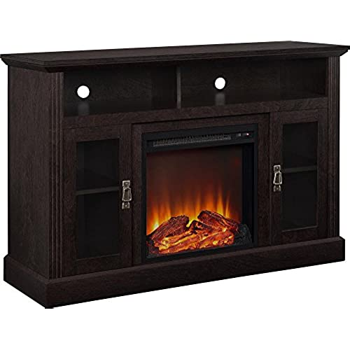in electric sliding hill with stands barn p ivory collection fireplace decorators home chestnut stand tv door