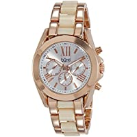Burgi Women's BUR094RG Rose Gold Quartz Watch with Silver Dial and Rose Gold And White Bracelet