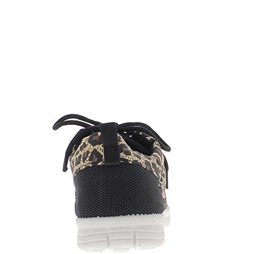Baskets femme noires effet nid d'abeille avec inserts léopard