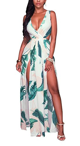 Bluewolfsea Women Sexy Sleeveless V-Neck High Split Long Beach Dress Floral Print Bodycon Maxi Dress Large ()
