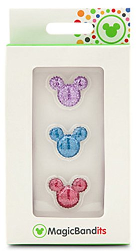 Price comparison product image Disney Parks Mickey Mouse Icon Shimmer Pavé Gem MagicBandits Hearts Set of 3 Pink, Blue, Purple Magic Band Bandits