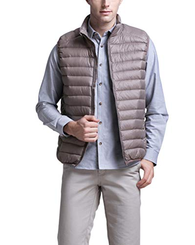 Coat Padded Solid Sleeveless Gilet Khaki Pockets Down with Color Mens Slim Collar Winter Jacket Fit Lightweight Stand Zipper OxEqUwx4B