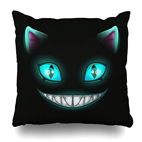 DIYCow Throw Pillows Covers Blue Smile Fantasy Scary Smiling Cat Face Black Cheshire Alice Home Decor Pillowcase Square Size 18 x 18 Inches Cushion - Inch 18 Smile Face